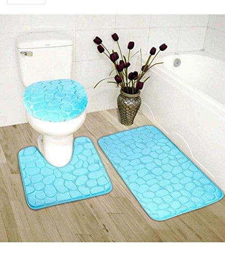 Elegant Home 3 Piece Solid Color Rock Embossed Memory Foam Bathroom Rug Set Bath Rug, Contour Mat, Lid Cover Non-Slip with Rubber Backing # New Rock (Light Blue) ()