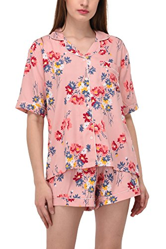 Pink Floral Pajama Shorts - Vie De Rêve New York Women's Sleepwear 2 Pc Short Sleeve Pajama Notch Collar Shorts Set/Pajama (Pink Floral, L)
