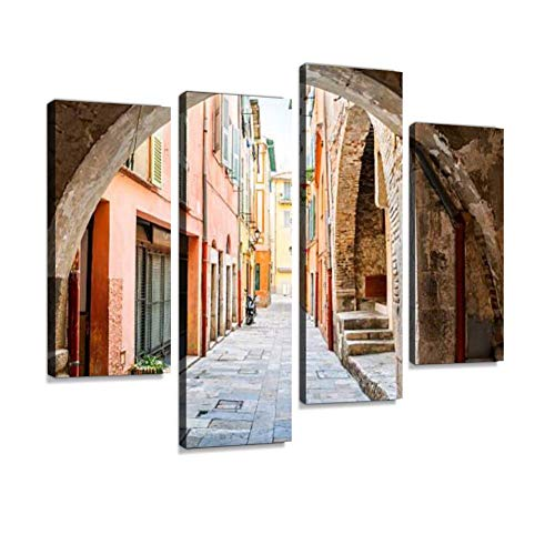 Old Street in Villefranche-sur-Mer Canvas Wall Art Hanging Paintings Modern Artwork Abstract Picture Prints Home Decoration Gift Unique Designed Framed 4 - Sur Big Framed