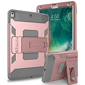 iPad Pro 10.5 Case,SKYLMW iPad Pro 10.5 Inch 2017 Case [Heavy Duty] Three Layer Hybrid Shockproof Full-Body Protective Case Cover With Kickstand for Apple iPad Pro 10.5 Inch 2017 Model, Rose Gold