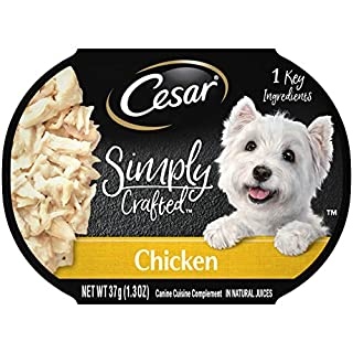 CESAR SIMPLY CRAFTED Adult Soft Wet Dog Food Meal Topper, Chicken, (10) 1.3 oz. Tubs