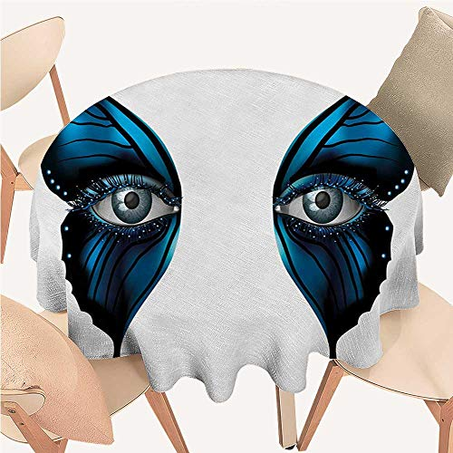 - Angoueleven Eye Wrinkle Free Tablecloths Realistic Female Eye on Magical Butterfly Wings Artistic Makeup Mask Masquerade Round Tablecloth D 70