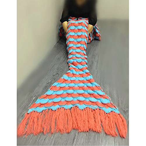 Price comparison product image Mermaid Tail Blanket ,All Seasons Soft Warm Quilt for Air Conditioner Room Sofa Knitted Fabric Crochet Tassels Sleeping Bags