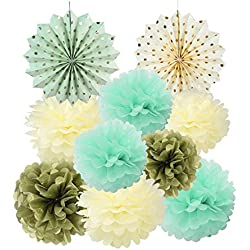 Mint Cream Gold Tissue Paper Pom Poms Flowers Gold Dot Paper Fans Collection Wedding Birthday Home Decoration SUNBEAUTY,10pcs(8inch 10inch 12inch)