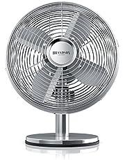 Brandson - Tafelventilator design retro - ventilator met 3 snelheden - mobiele ventilator - oscillatie 80° - hellingshoek ca. 40° - robuuste volledig metalen behuizing - model 2021 Silverline