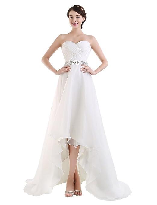 BessWedding Beaded High-Low Weddinding Dresses 2016 Beach Wedding ...
