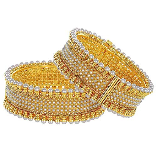 (Efulgenz Fashion Jewelry Indian Bollywood 14 K Gold Plated Faux Pearl Crystal Cuff Bracelets Bangle Set (2 Pc))