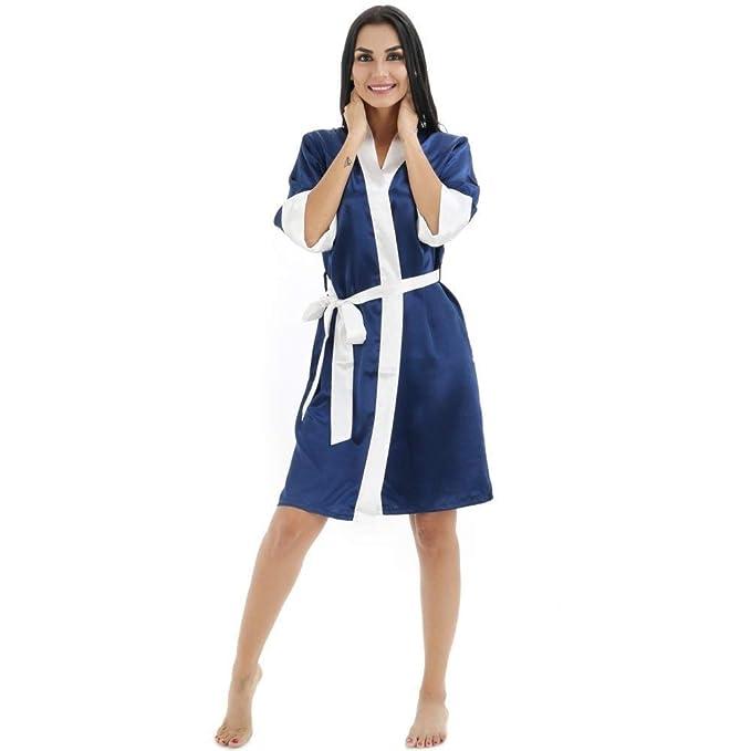 Kimono Suave para Mujeres Seda Navideña Satén Seda Corta Noche Bata De Basic Baño Pijama De Manga Larga Camisón Ropa De Dormir Ropa: Amazon.es: Ropa y ...