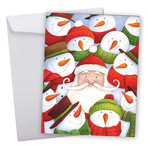 J6738AXSG Jumbo Merry Christmas Greeting Card: Santa Selfies, Featuring Santa and His North Pole Snowman Friends in a Selfie With Envelope (Large Size: 8.5