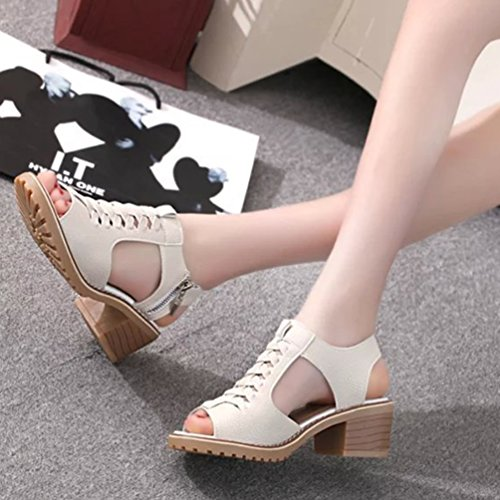 Jitong Women's Slingback Hollow-Out Shoes for Summer Block Heel Peep-Toe Sandals with Zipper Beige e20fyVAM