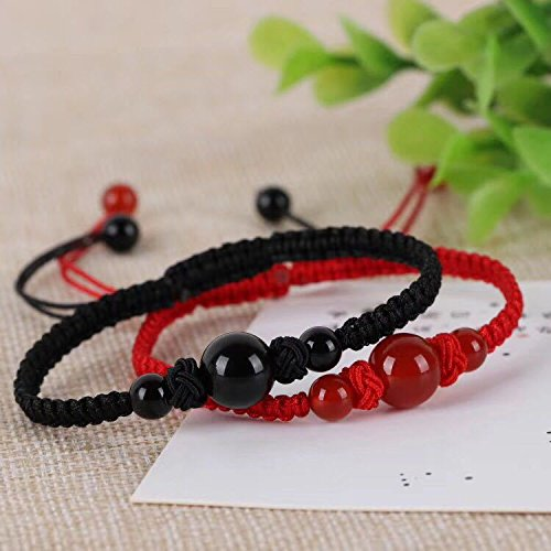 Natural red agate red string bracelet female to male Obsidian Black snow lovers students woven jewelry Diamond Results