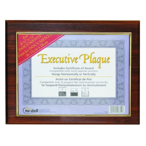 NuDell 13 x 10.5 Inches Prestige Executive Award Plaque, Walnut (18851M)