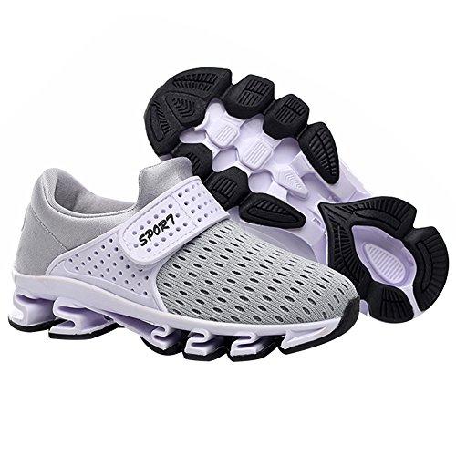 Jamron Chicas Chicos Velcro Verano Respirable Malla Zapatillas Antideslizante Suela de Amortiguación Corriendo Zapatillas de Deporte Gris