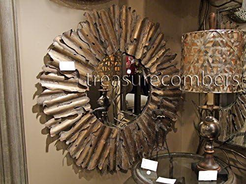 Large Gold Leaf Sunburst Wall Mirror Beveled XL Hammered Metal