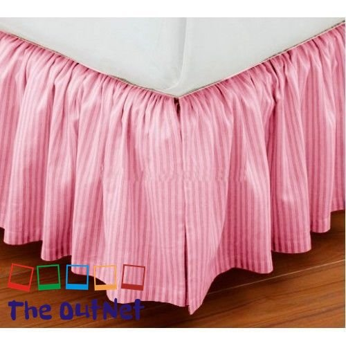 TheOutNet Collection Egyptian Cotton 750TC 1 Piece Dust Ruffle Bed Skirt Full Size 16'' Inch Drop Length Pink ()