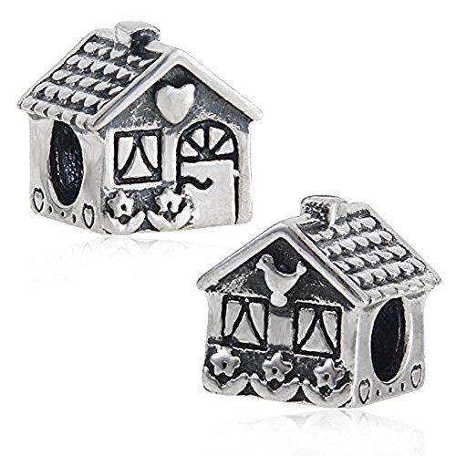 Luckybeads Sweet Home Charm 925 Sterling Silver Antique Bird Flower House Bead Fit on DIY Charms Bracelat
