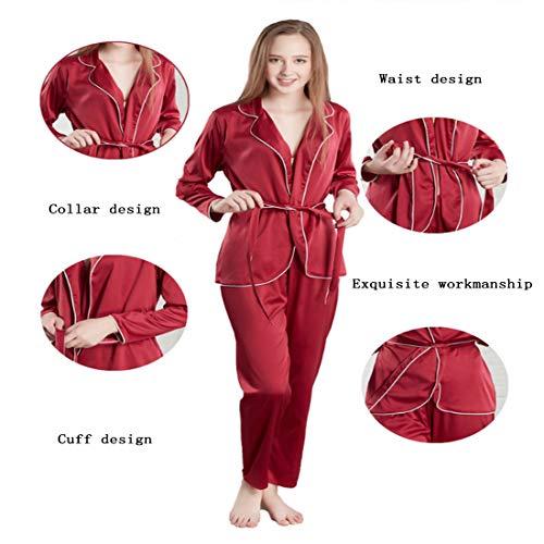 Seta xxl Abiti Casual Lovenipigiama Pigiama Abbigliamento In Sera Maniche Lunghe A Di Donna Set Da Pantaloni Rosso Sexy qWTEY