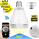 Wireless LED Bulb WiFi IP Hidden Camera 360 Degree Panoramic 1080P HD Fisheye for IOS Android APP Remote Home Security System Support for Indoor Outdoor House Yard Office Baby Room Pet by iCooLive