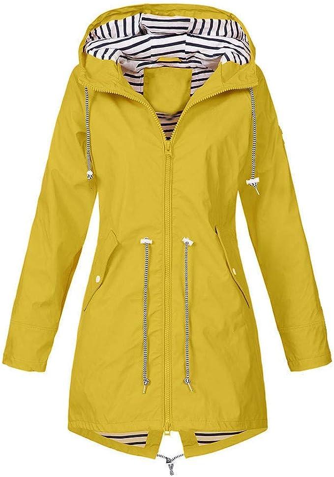 Frauen M/änner im Freien wasserdichte Jacken Einfarbige Regenjacke mit winddichter Kapuze