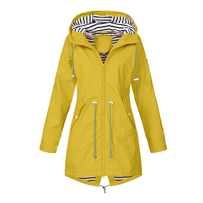 Clearance Windproof COPPEN Women Christmas Rain Jacket Outdoor Plus Waterproof Hooded Raincoat (M, Yellow 1)