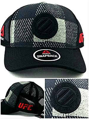 UFC Reebok MMA New Black Gray Octagon Plaid Mesh Trucker Era Snapback Hat Cap from Reebok