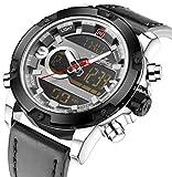 Multifunctional Digital Black Leather LED Sport Men Watches Silver Military Men's Quartz Wrist Watch