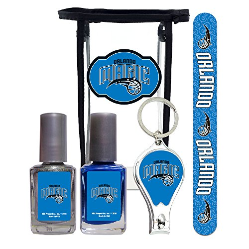 - Orlando Magic NBA Manicure Pedicure Set with 7-Inch Nail File, Nail Clippers, 2 Nail Polishes in Team Colors, and Toiletry Bag for the Whole Kit.
