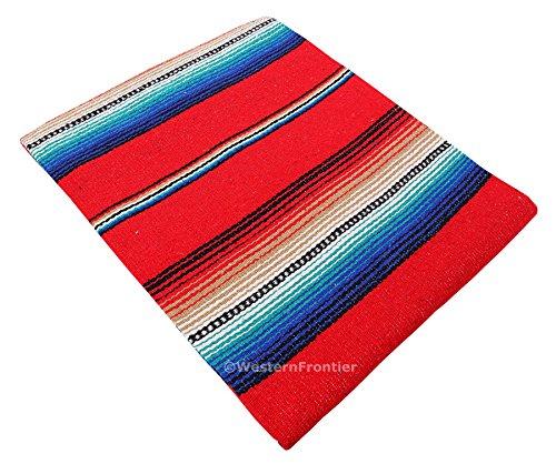 El Paso Designs Serape Style Falsa Blanket. Classic Mexican Style Serape Pattern in Vivid Colors. Hand Woven Acrylic, 57