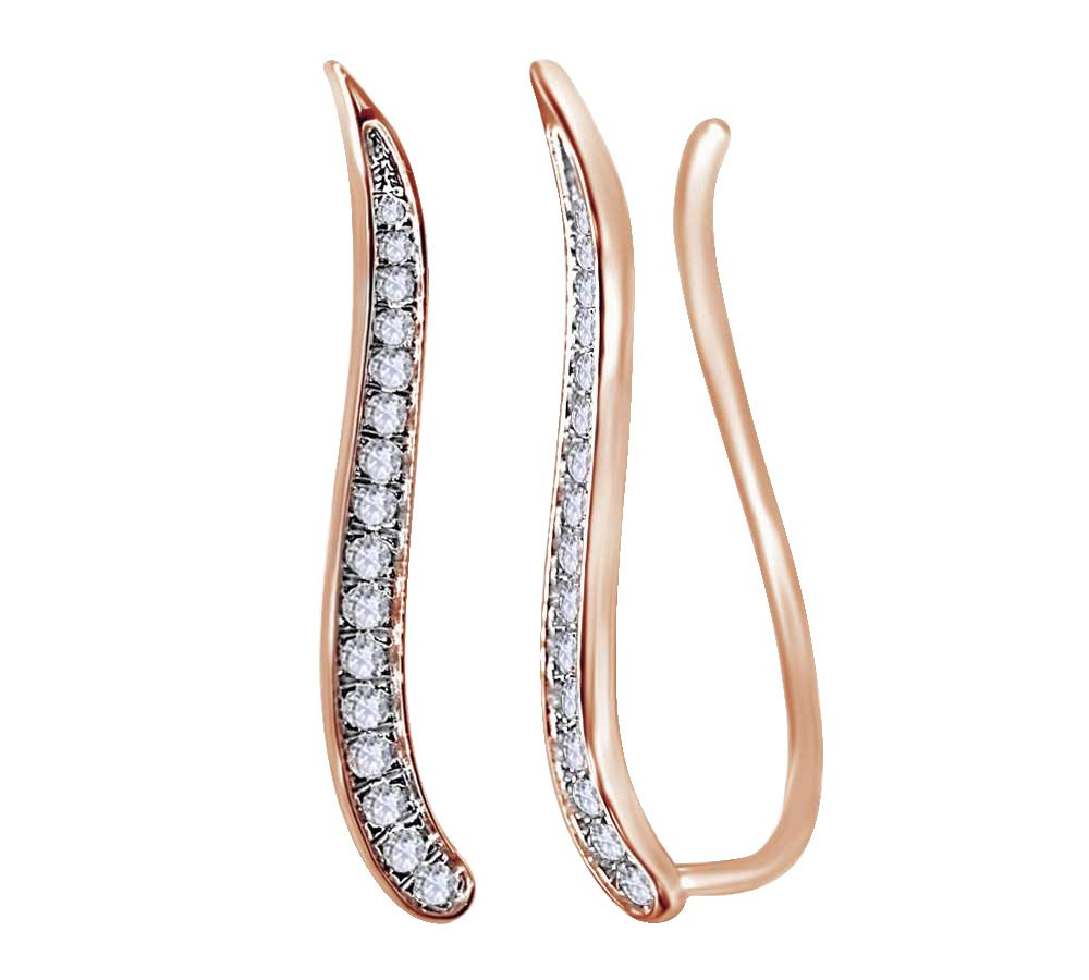 10K Rose Gold (0.33 cttw) Round Cut White Natural Diamond Climber Ear Crawler Earrings