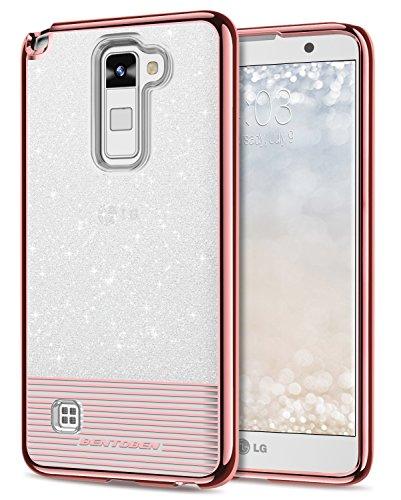 LG Stylo 2 Case, LG 2V Case, BENTOBEN Glitter Bling Shockproof Dual Layer Slim Hybrid Soft TPU Hard PC Cute Phone Case for LG Stylo 2/Stylus 2/Stylo 2V/Stylo 2 Plus Rose Gold