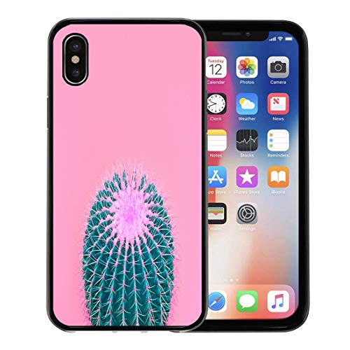 Semtomn Phone Case for Apple iPhone Xs case,Cactus Gallery Minimal Stillife Green Mood Bright Summer Colors Creative Unusual Pink Detail for iPhone X Case,Rubber Border Protective Case,Black - Craft Trends Magazine