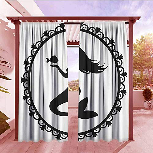 - Curtains Rod Pocket Two Panels Mermaid Decor Vintage Style Graphic Illustration of A Framed Princess Mermaid with Crown and Fish Set of 2 Panels W96x84L Black White