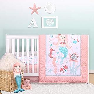 The Peanutshell Mermaid Kisses Crib Bedding Set for Baby Girls | 3 Piece Nursery Set | Baby Quilt, Crib Sheet, and Dust Ruffle