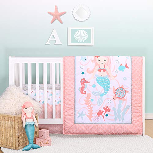The Peanutshell Mermaid Kisses Crib Bedding Set for Baby Girls | 3 Piece Nursery Set | Baby Quilt, Crib Sheet, and Dust Ruffle
