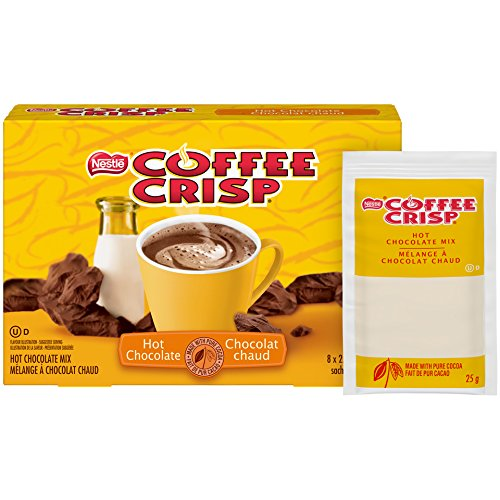 Nestle Coffee Crisp Hot Chocolate made with pure cocoa 8x25g sachets {Imported from Canada}