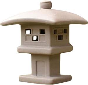 Kelendle Ceramic Miniature Pagoda Lantern for Garden Patio Bonsai Decoration Miniature Accessories Furniture for Home Decor Asian Zen Art Oriental Statue Beige Square