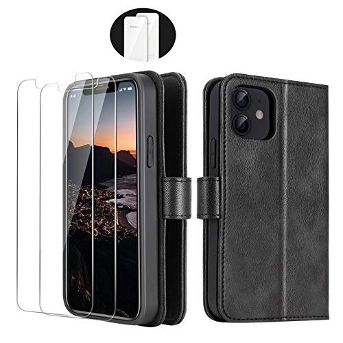 iPhone 12 Mini 2020 5.4 Inch Wallet Case, [2 Pieces Glass Screen Protectors], [RFID Blocking Protection], PU Leather Flip Folio for iPhone 12 with Card Slot Magnetic, Phone Case for iPhone 12, Black
