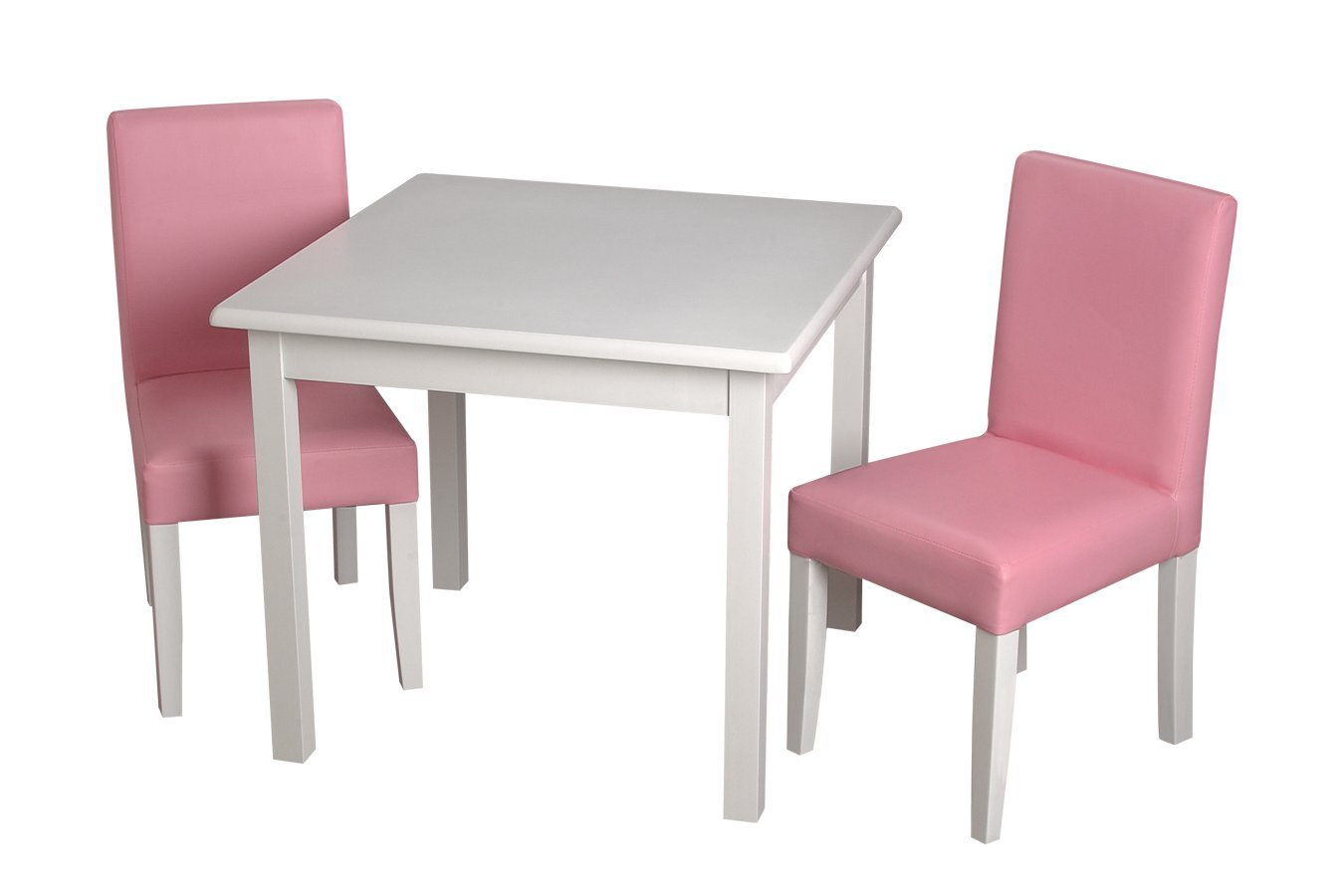 Gift Mark Children's Square Table with 2 Pink Completely Upholstered Chairs, White