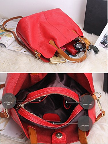 S Satchel Bag Genuine Tote Lady TOYU Shoulder Tote Black Purse Bucket Leather Red Shopping Ladies Women Handbag Casual Capacity Bag by Ux7wPSUq