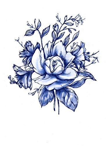 (Blue Vintage Flower Temporary Tattoo - Realistic Body Art - Gift - Accessory - Wedding - Set of 2 Temporary Tattoos, 4