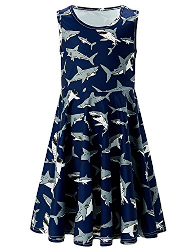 Uideazone Girls Back to School Shark Printed Casual Party Sundress Dresses]()