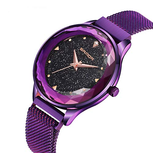 Shining Dial Round (Fashion Shining Round Dial Luxury Woman Girls Wrist Watch Quartz Movement Water Resistant Casual Watch Steel Wristband)