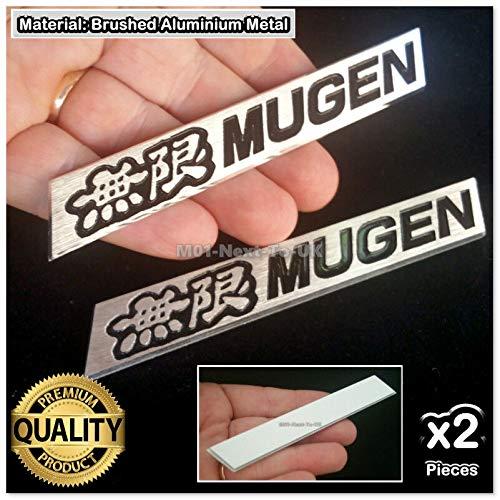 2274#53 2Pc Mugen Black Aluminium Metal Plate Brushed Alloy Chrome Badge Lip