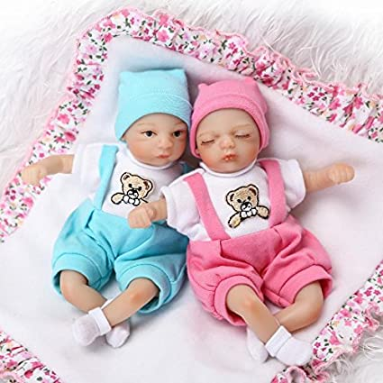 Twins Preemie Reborn Dolls Full Silicone Vinyl Newborn Baby Boy Girl Doll+Cradle