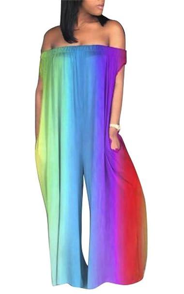 ebd20610376 Amazon.com  LAJIOJIO Women Sexy Off Shoulder Sleeveless High Waist Plus  Size Wide Bodycon Jumpsuit S-XXXL  Clothing