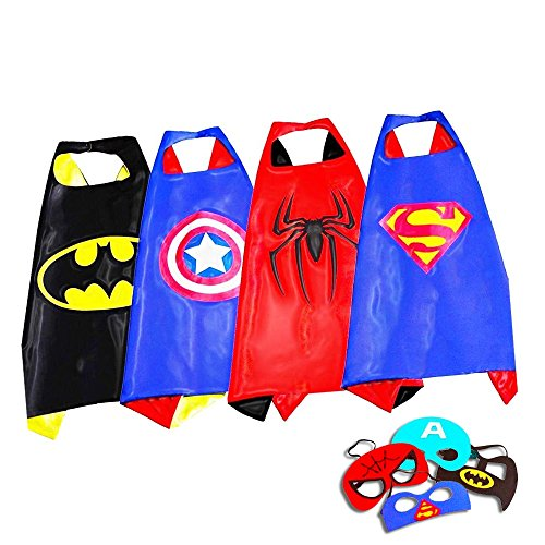 Superhero Capes Costumes For Kids, Girls & Boys | Pretend Play 4 Satin Capes & 4 Masks | For Halloween, Birthdays Party Favors, Dress Up