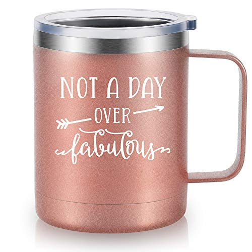 Not A Day Over Fabulous - LEADO 12 oz Stainless Steel Insulated Novelty Coffee Mug with Lid, Funny Travel Drinks Cup for Women, Unique gift for Birthday, Mother's Day ()