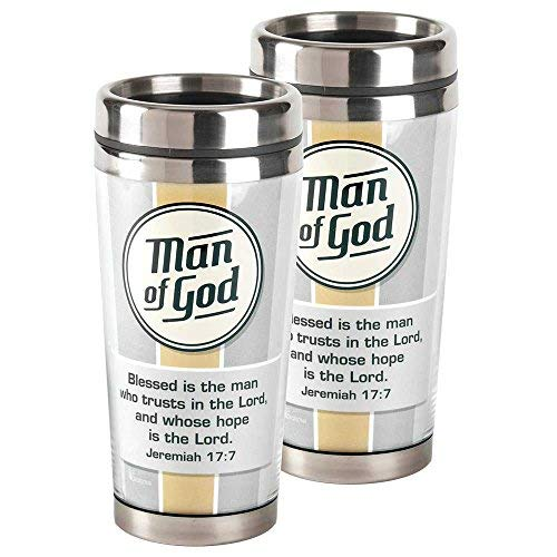 Man of God Taupe Striped Grey 16 Ounce Stainless Steel Travel Coffee Mug