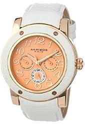 Akribos XXIV Women's AK560WT Quartz Multi-Function Genuine Leather Watch