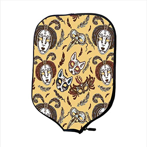 - iPrint Neoprene Pickleball Paddle Racket Cover Case,Masquerade,Venetian Style Paper Mache Face Mask with Feathers Dance Event Theme,Mustard Brown White,Fit for Most Rackets - Protect Your Paddle